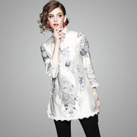 Wholesale elegant qipao - New Women's Clothing In Spring 2018, Fashionable National Style Jacket, Qipao with 7 - Sleeve Collar, Elegant and Slim Modified Cheongsam