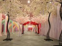 künstliche kirschbäume großhandel-2.6M höhe weiß Künstliche Kirschblüte Baum straße führen Simulation Kirsche Blume mit Eisen Bogen Rahmen Für Hochzeit requisiten