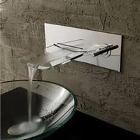 banyo muslukları krom toptan satış-LED Krom Cam Duvar Montaj Banyo Lavabo Musluk Su Akış, Tek Kolu Tek Delik Damar Lavabo Musluk, havzası Mikser Dokunun