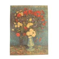 ingrosso stampe di girasole stampa-Van Gogh Oil Painting Works Sunflower Albicocca Astratto Canvas Art Print Poster Immagine Decorazione murale decorazione casa