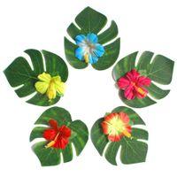 família de mesa venda por atacado-Arte ecologicamente correta 30pcs artificiais tropicais folhas de palmeira 24pcs do partido da flor do hibiscus Jungle Beach Tema Family Garden Wedding Table Decor