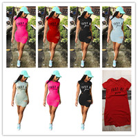 vestidos cortos ajustados club nocturno al por mayor-Just Be You Letter Vestido de mujer One Piece Summer manga corta con agujeros rasgados Camiseta Vestidos Bodycon Rips Tight Skirts night club Clothes