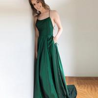 aa64964f1db grünes criss cross-back-abendkleid großhandel-Dark Green Spaghetti 2018  Abendkleid mit Taschen