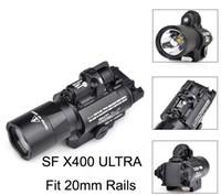 raylı kırmızı nokta lazer toptan satış-Taktik SF X400 CREE Ultra Yüksek Çıkış LED Tabanca M4 Tüfek El Feneri Kırmızı Nokta Lazer Combo Sight 20mm Picatinny Ray Dağı