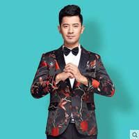 e80cfb53be Singer stage preto roupas para homens noivo terno 2018 mens Borde ternos  slim Host Maste traje moda coreano vestido formal gravata