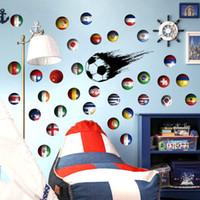 futbol çıkartmaları toptan satış-Yeni DIY Çok Ulusal Bayrak Futbol Duvar Çıkartmaları Vinil Çevre Dostu Spor Dünya Kupası Duvar Çıkartmaları için Liiving Odası Çocuk Odası Bar Dekora ...