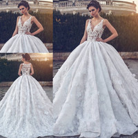 Wholesale Glamorous V neck Lace Wedding Dress Ball Gown Bridal Dress New Fashion Mopping Long Section Wedding Gowns