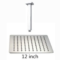 Wholesale ceiling shower arm - 12 inch shower head with arm 300*300 stainless steel head shower with ceiling arm top water saving rain