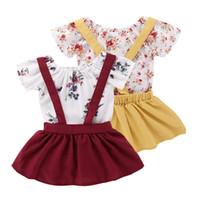 faldas lindas flores al por mayor-Mikrdoo Kids Baby Girl Cute 2 UNIDS Conjunto de Ropa de Manga Corta Flor Impresa Mameluco Top + Atado Falda Traje Niño Verano Ropa Encantadora