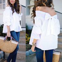 blanco de blusas tops al por mayor-Summer White Elegant Women Blusas Camisas Sleeve Bow Slash Neck Off Tops de hombros Casual Blusas sueltas