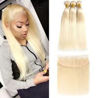 13 schließung großhandel-9A Brasilianisches Reines Haar # 613 Blond 3 Bundles mit 13 * 4 Frontal Verschluss Top Spitze Frontal und Bundles Silk Gerade Haarbündel und Frontal