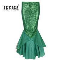 6aec970f66 Cheap iEFiEL Womens Long Skirts Ladies Sequined Mermaid Skirts Tail Skirt  Halloween Costumes Maxi Skirt for Birthday Party