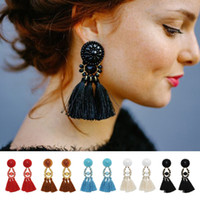 Wholesale gold sapphire earring - 16.9cm Vintage 5 Colors Cotton Tassel Drop Earring Resin Gemstone Chandelier Bohemia Punk Ethnic Dangles for Women