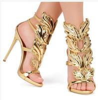обувь stiletto 43 оптовых-Золотой серебряный лист вина гладиаторы Стилет каблуки натуральная кожа ремешками свадебное платье невесты обувь большой размер Евро 43