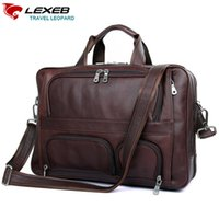Wholesale lawyers briefcase - Wholesale-LEXEB Cow Leather Lawyer Briefcases Solid Men's 17.3 Inches Laptop Bag Big Vintage Business Travel Bags 44cm Length Brown