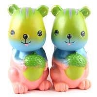 Wholesale Toys For Squirrels - Squishy Squirrel Eat Pinecone Coloured Jumbo 15cm Slow Rising Bread Relieve Stress Cake Kawaii Animal Strap Phone Pendant Key Chain Toy Gift