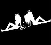 feuille de plastique blanc achat en gros de-Réfléchissant Feuille Ange VS Démon Autocollant Sexy Diable Voiture Autocollants Ange Démon Voiture Sexy Couvre Voiture Beauté Ange Démon