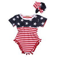 Wholesale flag romper - Baby American Flag Romper with Headband Small Balls 0-24M Baby Girls Boys Stars Striped Flag Jumpsuit Cotton US Independence Day