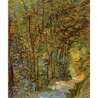 ingrosso legno verniciato a olio-Dipinti a mano Vincent Van Gogh dipinti ad olio su tela Path in the woods Modern art Landscape wall decor