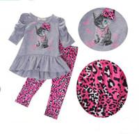 vestidos de leopardo para niñas al por mayor-Recién nacidos niños bebés niñas ropa de otoño vestidos de la camiseta tops dress + leopardo pantalones 2 unids / set trajes niños niñas traje de moda
