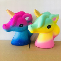 Wholesale head horses - Jumbo Starry Unicorn Horse Head Toy Super Soft Cartoon Colorful Pony Squeeze Slow Rising Decompression Toys Kids Gift