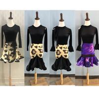 zebra leopar elbisesi kızları toptan satış-Leopar Latin Dans Elbise kızlar için latin elbise çocuk dans kostümleri etek ve üst uygulama giyim salsa samba