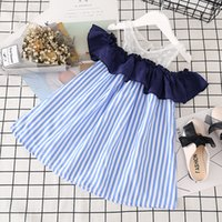 Wholesale Natural Leaf - Girls Strapless Dress Grenadine Blue and White Stripes Summer Girls Princess Dress with Lotus Leaf Knee-length 3-7T