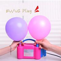 ingrosso pompe di gonfiaggio a palloncino-New Hot Portable US Plug Elettrico Pompa a palloncino Ballon Inflator Potenza Twin Ugelli Spina di UE Forniture per feste di nozze Compleanno