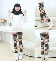 Wholesale knit baby leggings resale online - Winter Christmas Snowflake Knitted Leggings with Velvet Flannel Xmas Warm Stockings Pants Stretch Tights Baby Bootcut Stretchy Pants