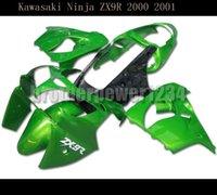 kawasaki ninja kits de cuerpo de moto al por mayor-Kit de motocicleta verde del carenado del ABS cuerpo para ZX9R Kawasaki Ninja 2000-2001