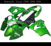 kawasaki ninja kits corps de moto achat en gros de-Moto verte ABS Carénage Body Kit Pour Kawasaki Ninja ZX9R 2000-2001