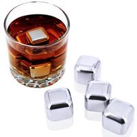 gletscherfelsen eiswürfel großhandel-Neue Kreative Edelstahl Whisky Eiswürfel Steine Gletscher Kühler Getränk Gefrierschrank Gel Eis Rock Wein Whisky Stein Speckstein