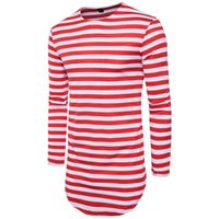 Wholesale Arc Red - New Autumn Spring Men Round Neck Long Sleeve extended arc hem Striped T-shirt Slim Fit T Shirts Tees Tops Casual Male Homme