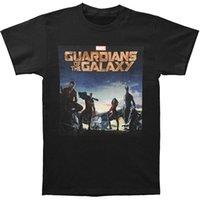 guardiões filme galáxia venda por atacado-Guardiões Da Galáxia Movie Poster T Shirt Camiseta O-pescoço Moda Casual de Alta Qualidade de Impressão T Shirt Para Masculino / menino Top Tee