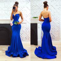 modernos vestidos largos de noche al por mayor-Flowy Long Royal Blue Vestidos de noche 2018 Sweetheart Mermaid Long Cascading Ruffles Modern Prom Vestidos Mujeres formales Vestido para ocasiones especiales