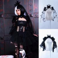 collar de encaje cardigan negro al por mayor-Halloween Coslplay Gothic Punk Rock Festival de música Feather Lace Cape Negro blanco Color XL tamaño