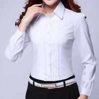 ropa formal blanca al por mayor-Camisa formal Ropa de mujer 2018 Nueva Slim All-Match Blusa blanca de manga larga Elegante Oficina para mujer Ropa de trabajo Tallas grandes Tops