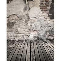 suelo de vinilo telón de fondo al por mayor-Pared de ladrillos rotos Telones de fondo de tablones de madera gris Suelo Niños Niños Foto Estudio de fondo Bebé recién nacido Retrato de vinilo Fondos de pantalla