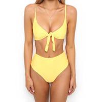 ingrosso usura nuotata gialla-Sexy Bandage Tie Front Donna Costume da bagno Bikini Suit Summer Classic Vocation Biquini Wear Nero / Yellow / Red Maglietta Top Beach Wear