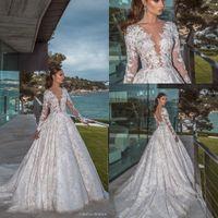 halsabdeckung hochzeitskleid großhandel-Modest Designer Ballkleid Vintage Brautkleider 2019 V Neck Sheer Illusion Long Sleeves Brautkleider Covered Tasten zurück