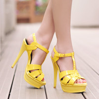 Wholesale Mint Ties - Zapatos Women Gladiator Sandals Strap Wedding Party Women Shoes Platform Lady Tribute Patent Leather High Heels Pumps Chaussures Femme ete
