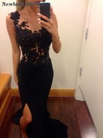 erstaunliche schwarze spitze abendkleider großhandel-Erstaunliche schwarze Spitze Prom Kleider Sexy Kristall lange Chiffon Side Split lange Abend Party Kleid Kleid