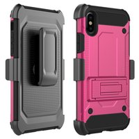 Wholesale Rear Light Covers - Armor Rear Cover Belt Clip Case With Sickstand Screen Protector For Iphone X 8 7Plus Galaxy S8 LG Aristo ZTE OPP BAG