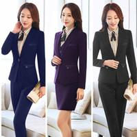 Wholesale Business Women Formal Suits - 2018 Business Skirt Suit Ladies Autumn Winter Blazer Jacket+Formal Skirt 2 Pieces Work Skirt Suit Women HR-659