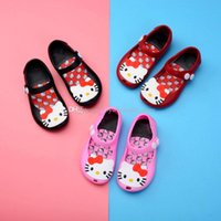 Wholesale Jelly Cats Wholesale - Kids Kitty jelly sandals baby cartoon cat shoes children girls Melissa princess shoes cute soft beach Shoes C3809