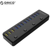 hub 12v al por mayor-ORICO P12 USB 3.0 HUB con 12V 5A adaptador de corriente 60W 12 puertos con 3 puertos BC1.2 puertos de carga Desktop multifunción 3.0 HUB