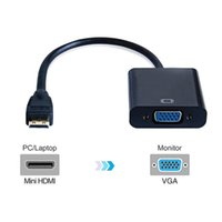 Wholesale Pc Hdtv Cable - 1080P Mini HDMI to VGA Video Audio Power Supply Converter Adapter Cable For PC HDTV Display Projector