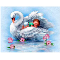 Wholesale cross stitch kit swans - Lovely Baby White Swan 5D DIY Mosaic Needlework Diamond Painting Embroidery Cross Stitch Craft Kit Wall Home Hanging Decor
