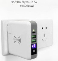 Wholesale Power Bank Qi Wireless - Power Bank 6700mAh QI Wireless Charger Wall Charger US EU UK AU Plug 5V 3A 15W Portable Super Adapter for iPhone X Samsung S9 Plus 20pcs up