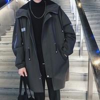 черный длинный капюшон оптовых-2018 зима новый мужской ветровка мода армия зеленый черный свободные большой размер повседневная тенденция улица с длинными рукавами капот пальто